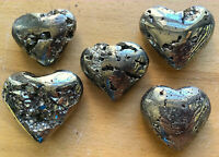 Druzy Iron Pyrite Heart - Carved Crystal Paperweight - Natural Fools Gold Hearts