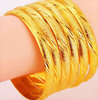 24k Gold Bracelets Bangle Womens Elegant Cut Design Opening +GiftPkg D223-6