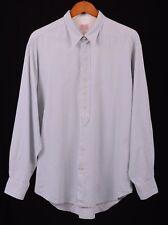 REPLAY Blue Herringbone Dot Stripe Deep Button Placket Casual Work Wear Shirt L