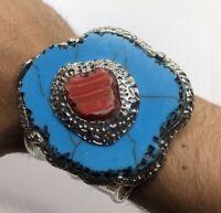 "Vintage Bracelet Cuff Faux Turquoise Nugget Silver Tone Statement 7"""