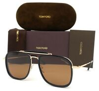 Tom Ford Huck   FT0665 01E Shiny Black Gold / Brown 58mm Sunglasses TF0665