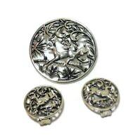Sarah Coventry Vintage Woodland Flight Deer Pin Brooch Matching Clip Earrings