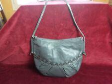Sac bandoulière cuir gris femme bourse VINTAGE 70/80 Grey leather shoulder bag