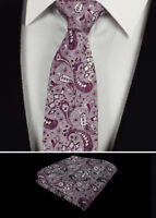 Mens Tie Wedding Hanky Plum Purple Berry Paisley Floral  Silk Set