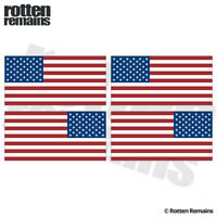 "American Flag Decal Sticker 3""x1.5"" 4 Pack MIRRORED US USA Hard Hat ZU1"