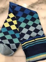 ORIGINAL PENGUIN Men's Diamonds and Stripes Socks One Size Blue Yellow Green NEW