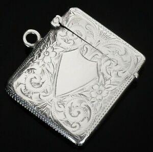 Attractive Antique Silver Vesta Case, Birmingham 1904, Henry Williamson Ltd