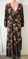 City Chic Dress Size Plus Small Black Pink Yellow Floral Maxi Wrap