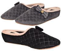 Ladies Luxury Slipper Mules Quilt Soft Velour Suede Slip on Slider Shoes