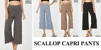 NEW HIGH RISE SCALLOP CROP STRETCH CAPRI PANTS SIZE S, M, L, XL, 1X, 2X, 3X