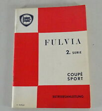 Operating Instructions/Manual Lancia Fulvia 2. Series Coupé Sport By 05/1973