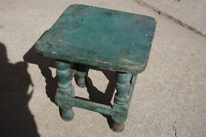 Early Miniature Joint Stool American Antique Primitive Original Green Paint Doll