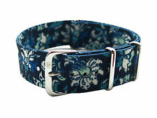 HNS ZULUPATH Double Graphic Printed White Flower Blue BG Nylon Diver MoD Strap
