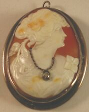 Sterling Silver Shell Habille Cameo w/Diamond (3mm faceted) Approx. 0.15 Carats