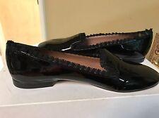 $395 Red Valentino Womens Black Patent Moccasins Shoes 9.5 Medium (B,M)