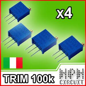 4x TRIMMER 100K DI PRECISIONE MULTIGIRI Verticale Trimmer multiturn 3296W