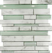 10SF-Carrara White Marble & Mint Glass Random Linear Mosaic Tile Backsplash Spa