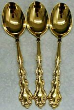 3 ONEIDA Community Golden Modern Baroque Gold Electroplate OVAL SOUP SPOONS