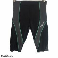 Womens CW-X Shorts Medium M Black Green Tight Compression Athletic Long Inseam