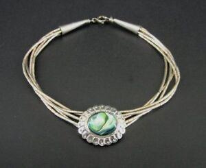 Abalone Stone Multi Strand Sterling Silver 925 Beads Bracelet