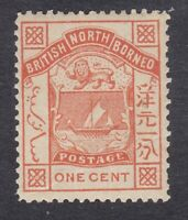 North Borneo 1886 to 1887 - 1c Orange - SG24 - Mint Hinged (A6D)