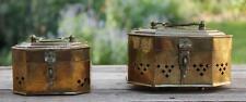 Lot of 2 Vintage Pierced Hinged Brass Octagon Cricket Boxes Trinket Potpourri