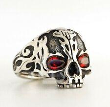 Half jaw Red Fire skull 925 Silver Men's biker rider Oxidized Ring Gift size 10