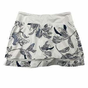 Athleta Laser Run Skort Skirt White Floral Size Medium