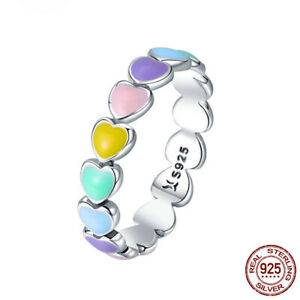 925 Sterling Silver Lovely Colorful Enamel Heart Ring Band Exquisite Jewelry