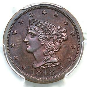 1848 PCGS PR 63 BN 1st Restrike Rev of 1856 Braided Hair Half Cent Coin 1/2c
