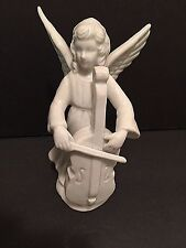 "Enesco Angel Figurine Playing Cello 5"" Glazed White Porcelain"