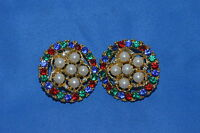 VINTAGE MULTI COLOR JEWELS SURROUNDING WHITE PEARL EARRINGS CLIP ON GOLD TONE