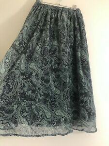 Vintage Boho Blue Paisley Maxi Skirt Size 12/14 Peasant Prairie Hippie Gypsy