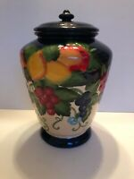 "Hand Painted for Nonni's 11.5"" Biscotti Cookie Jar Canister Embossed Fruit"