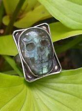 Labradorite Gemstone Skull One-off Sterling Silver Ring sz8 .A1e