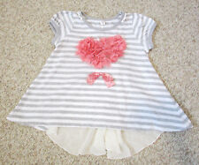 Angel Love Flared Knit Top Flower Stone Heart Gray White Striped Shirt 4T 5T 100