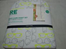 New RE Room Essentials Dorm  Bed XL Twin Sheet Set ~ Glasses ~ Gray Neon Green