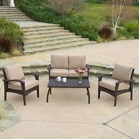 Outdoor Patio Furniture Brown PE Wicker Luxury 4pc Sofa Seating Set