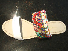 NINE WEST LEATHER ladies NEW Beaded flat sandals RRP $129.95 AUS SIZE 7