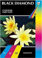 $A4 Canvas Textured Glossy PhotoPaper 50 Sheets Heavy 220gsm Double Sided Inkjet