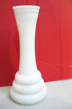 "White Milk Glass Crystal Unsigned Flowers Vase 6"" Tall Good Condition"