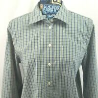 Orvis Womens Top Sz L Blue Gray Plaid Long Sleeve Button Front Shirt Blouse