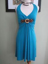 Cache blue halter sleeveless build in bra mini dress Size M