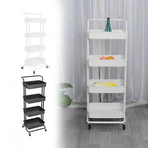 Salon Kitchen Trolley Cart Storage Rack Tray Home 4 Shelves Organiser + 4 Wheels
