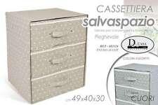CASSETTIERA 3 CASSETTI PIEGHEVOLE SERIE CUORE SALVASPAZIO 49*40*30 CM BET-683114