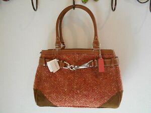 COACH- SCARO ROSE TWEED FABRIC W/BROWN LEATHER TRIM SACHEL  BAG FOR WOMAN
