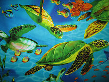 TURTLE SEA TURTLES FISH SEA COTTON FABRIC BTHY