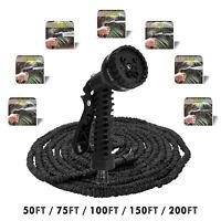 Heavy Duty Expandable Flexible Hose Pipe Magic Garden Gun Water Spray 50-200FT