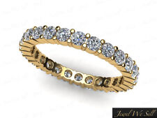 0.75Ct Round Cut Diamond Shared Prong Eternity Band Ring 10k Yellow Gold Gh I1