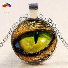 Vintage Cabochon Tibetan Silver Glass leopard eye Chain Pendant Necklace zqd91